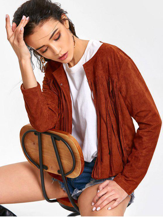 Manteau Simple à Franges - Brun-rouge XL
