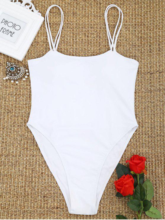 قطعة واحدة كامي السامي قص ملابس السباحة - أبيض L
