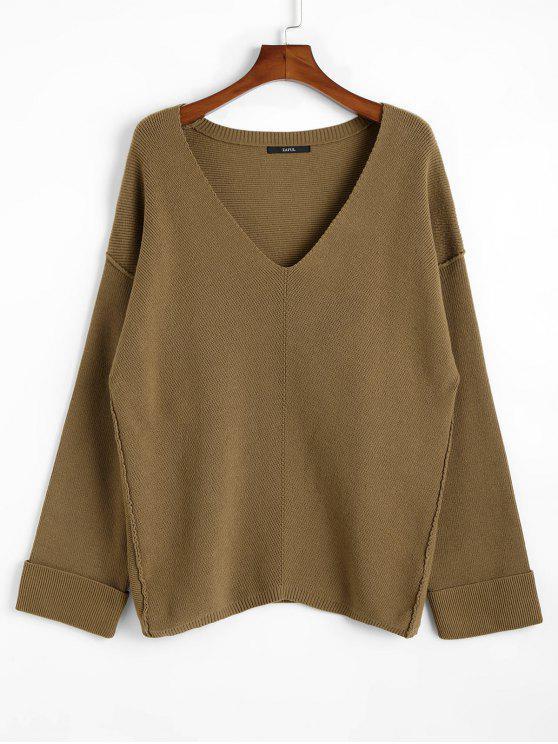 outfit Oversized Plunging Neck Sweater - DARK KHAKI ONE SIZE