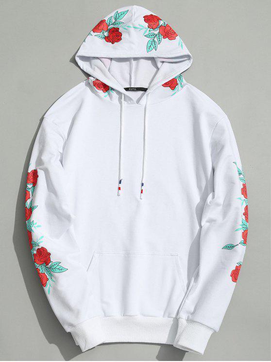 Sweat à Capuche à Motifs Floraux - Blanc S