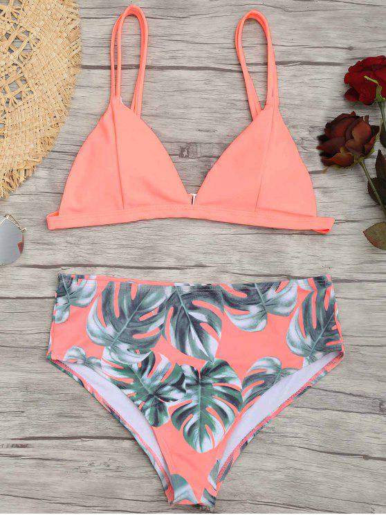 Palm Leaf Plus Size Bikini - Pink 4XL