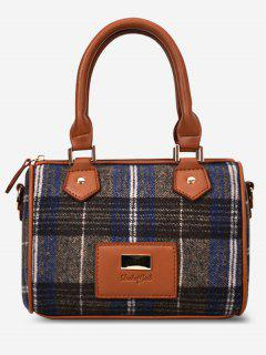 Multi Function Plaid Handbag - Blue