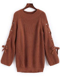 Pullover Raglan Sleeve Lace Up Sweater - Light Brown