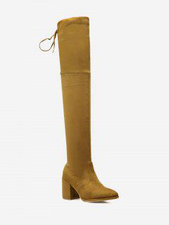Pointed Toe High Heel Thigh High Boots - Light Brown 37