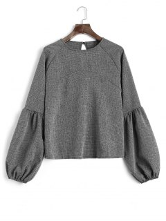 Keyhole Lantern Sleeve Heathered Sweatshirt - Deep Gray L