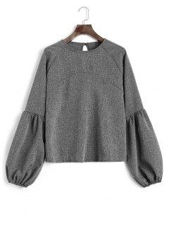 Keyhole Lantern Sleeve Heathered Sweatshirt - Deep Gray S