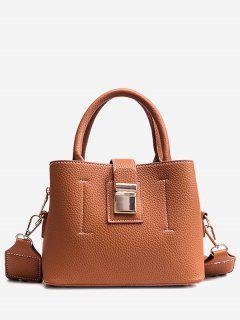 Top Handle Faux Leather Handbag With Strap - Brown