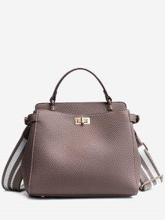 Top Handle Faux Leather Stitching Handbag - Gray