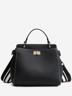 Top Handle Faux Leather Stitching Handbag - Black