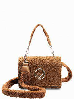 Metal Embellished Faux Fur Crossbody Bag - Brown