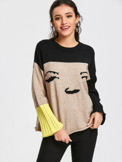Color Block Pullover Graphic Sweater - Apricot