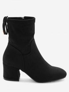 Square Toe Lace Up Back Block Heel Ankle Boots - Black 34