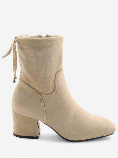 Square Toe Lace Up Back Block Heel Ankle Boots - Apricot 39