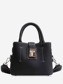 Top Handle Faux Leather Handbag With Strap - Black