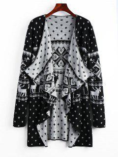 Geometric Christmas Elk Tunic Draped Cardigan - Black Xl