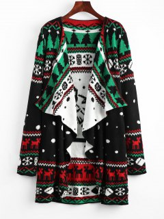 Christmas Graphic Tunic Knitted Draped Cardigan - Black Xl