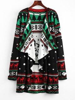 Christmas Graphic Tunic Knitted Draped Cardigan - Black 2xl
