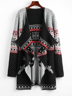 Christmas Reindeer Polka Dot Draped Tunic Cardigan - M
