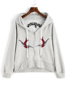 Zip Up Bird Floral Embroidered Hoodie - Gray L
