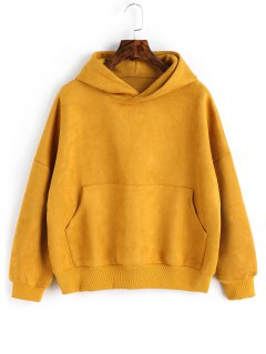 Oversized Faux Suede Hoodie With Pocket - Mustard