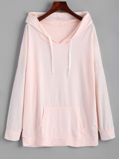 Oversized Drawstring Hoodie With Pocket - Pink M