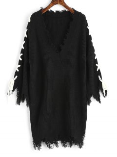 V Neck Frayed Lace Up Sweater Dress - Black