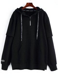 Half-zip Graphic Hoodie - Black L
