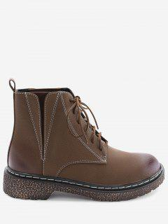 Lace Up Round Toe Low Heel Short Boots - Deep Brown 36