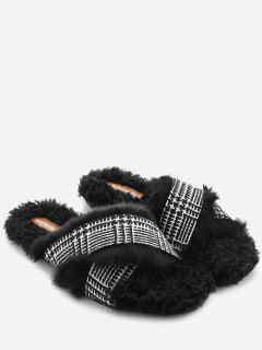 Houndstooth Cross Strap Faux Fur Slippers - Black 36