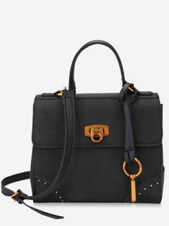 Rivets Multi Function Metal Handbag - Black