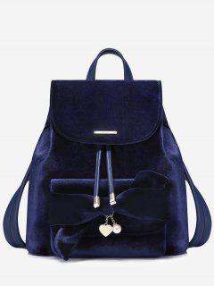 Faux Pearl Top Handle Heart String Backpack - Sapphire Blue