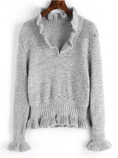 Sheer Pullover Ruffles Sweater - Gray