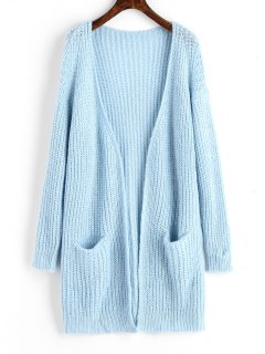 Chunky Open Front Cardigan With Pockets - Light Blue