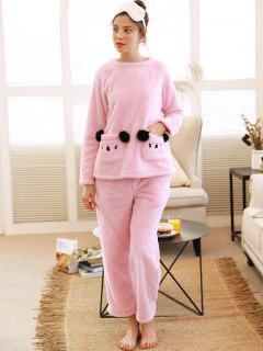 Conjunto De Pijama De Osito De Felpa - Rosa Xl