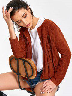 Manteau Simple à Franges - Brun-rouge M