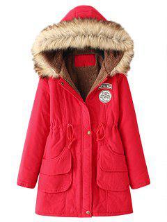 Snap Button Fur Collar Parka Coat - Red M