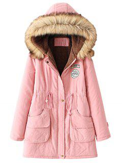 Snap Button Fur Collar Parka Coat - Pink L