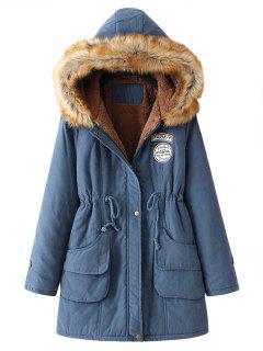 Snap Button Fur Collar Parka Coat - Cadetblue 2xl