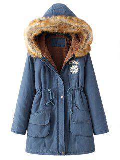 Snap Button Fur Collar Parka Coat - Cadetblue L