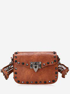Striped Belt Rivets Crossbody Bag - Brown
