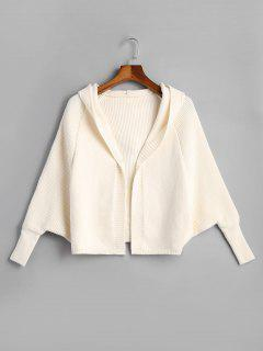 Open Front Plain Hooded Cardigan - Off-white