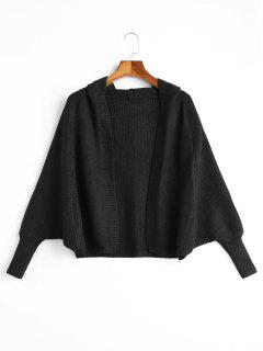 Open Front Plain Hooded Cardigan - Black