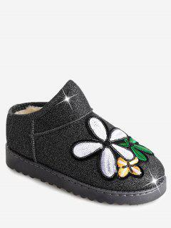 Flower Sequined Cloth Embroidered Snow Boots - Silver 40