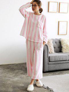 Fuzzy Gestreiften Pyjama Set - Pink M