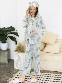 Rentier Fuzzy Weihnachten Pyjama Set - Grau L