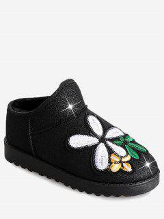 Flower Sequined Cloth Embroidered Snow Boots - Black 36