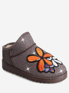 Flower Sequined Cloth Embroidered Snow Boots - Papaya 36