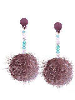 Faux Fur Ball Beaded Earrings - Pink