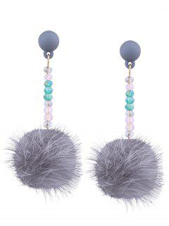 Faux Fur Ball Beaded Earrings - Gray