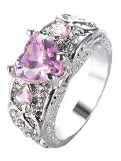 Engraved Faux Gem Heart Finger Ring - Pink 6
